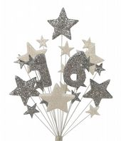 Number age 16th birthday cake topper decoration in silver and white - free postage